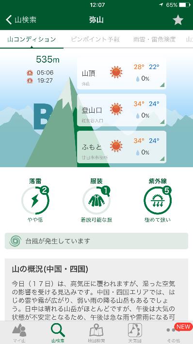 の 天気 山