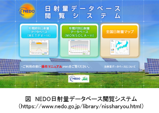 図:NEDO日射量データベース閲覧システム