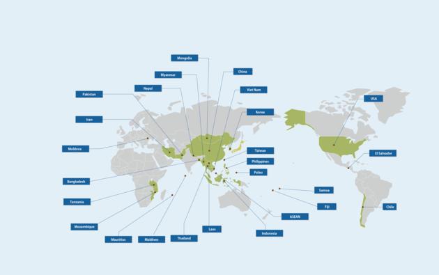 海外気候変動等案件の実施国