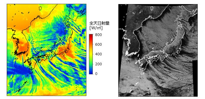 (左)SYNFOS-solar 1kmメッシュによる日射量分布の予測結果 (右)ひまわり8号による衛星画像(可視)