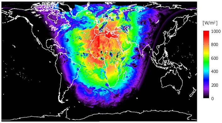 推定日射量の例(全球)