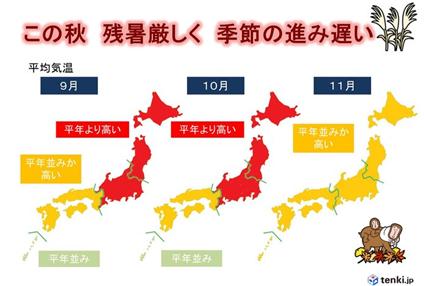 9月~11 月の気温の予想(データ元:気象庁・8 月 23 日発表)