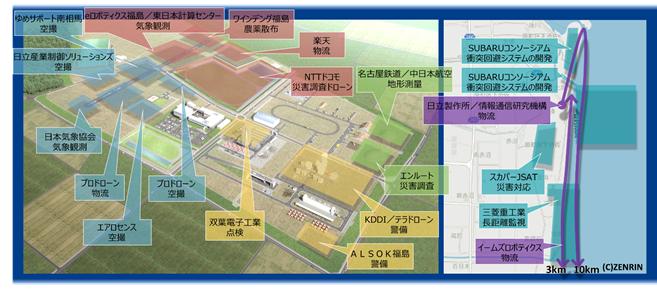 図2 飛行経路図(左:福島ロボットテストフィールドエリア、右:海岸エリア)