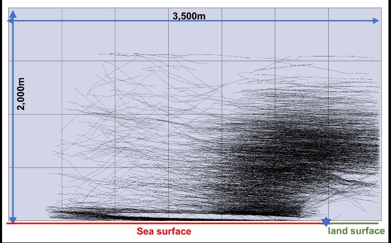 「鳥類軌跡抽出システム」 船舶レーダ(Xバンド)画面イメージ