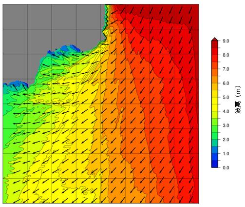 数値モデルによる波高分布