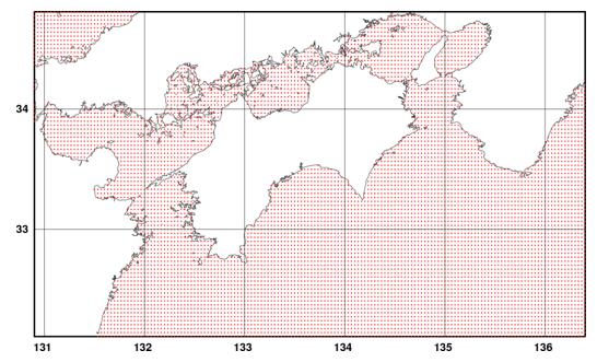 風・波浪データベースの格子点図