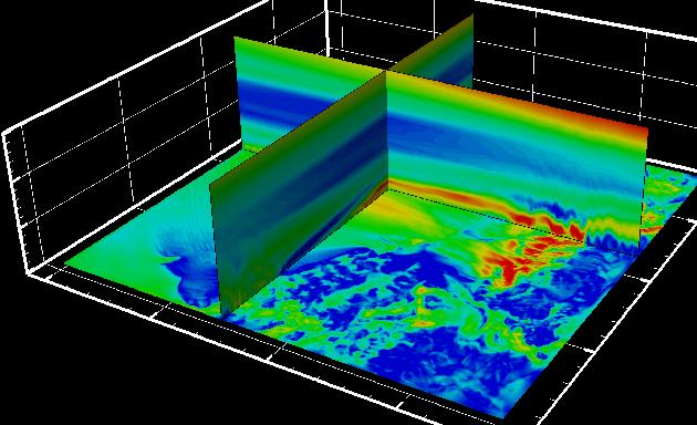 気象モデルを用いた「洋上風況推定シミュレーション」の例(風速分布)