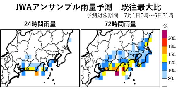 図2 7月1日13時時点の1日0時~6日21時にかけて予想される最大24時間雨量及び最大72時間雨量の過去最大値との比。