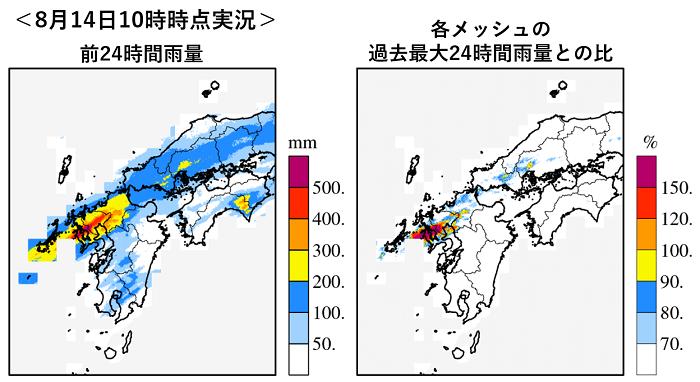 図1 8月14日(土)10時時点の前24時間雨量とその過去最大値との比(過去最大値の集計期間は国土交通省解析雨量が1kmメッシュ解像度として 整備された2006年5月~2020年12月)
