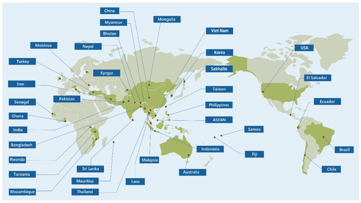 海外気候変動等案件実施の国と地域